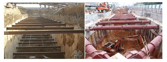 基坑支撑可采用土锚和拉锚等外拉锚形式